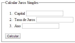 Entradas de dados para calcular juros simples