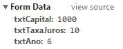 Figura 2. Dados do request